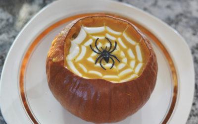 Spider Web Squash Soup in a Pumpkin